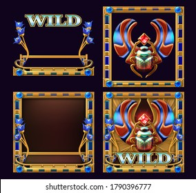 3D illustration of a scarab beetle artifact, in the ancient Egypt linked to the religious significance of the Khepri god, surrounded by a decorative frame. Egyptian themed Wild symbol for slot game