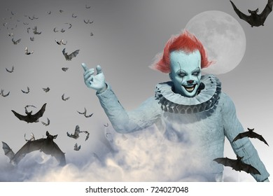 3D Illustration of scary clown
