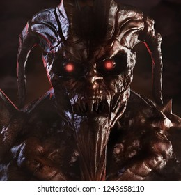 3d Illustration of a scary demonic creature brown colored face with glowing eyes  and horns standing on dark background.