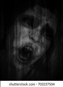 3d illustration of scary ghost woman in grunge background,Horror background,mixed media