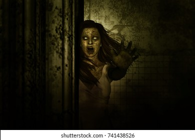 3d illustration of Scary ghost woman in haunted house,Horror background,mixed media