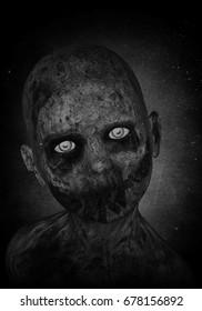 3d illustration of scary zombie boy