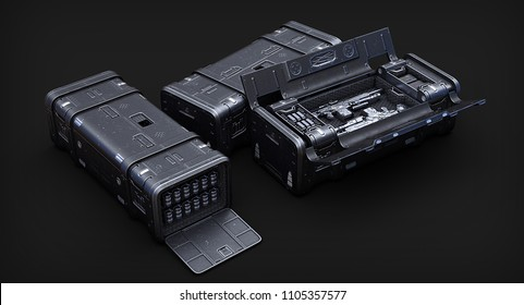 3d illustration of sci fi military crate on the background