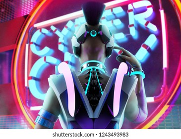 3d illustration of a sci-fi cyber punk girl with neon glasses, collar and armor torso touching her helmet on neon city background.