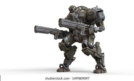 3d illustration of sci-fi mech soldier standing with two assault guns isolated on white background. Concept art of military storm trooper robot with green gray color scratched metal armor. Mech Battle