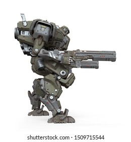 3d illustration of sci-fi mech soldier standing with assault gun in one hand isolated on white background. Concept art of military storm trooper robot green gray color scratched metal armor. Side view