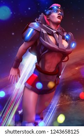 3d illustration of a sci-fi woman in robot space suit with jetpack and neon lights flying on space planet cosmic background.