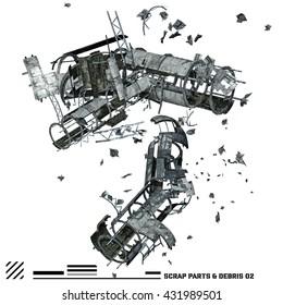 3D illustration of Scrap space ship parts and debris 2