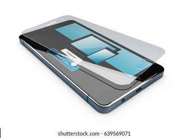3d Illustration of Screen protector film or glass cover isolated white.