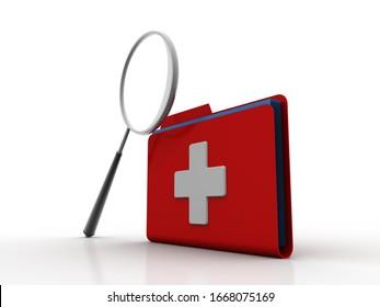 3d illustration search hospital folder