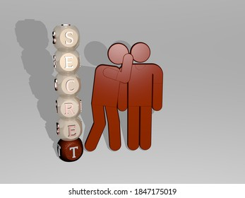 3D illustration of SECRET graphics and text around the icon made by metallic dice letters for the related meanings of the concept and presentations, 3D illustration