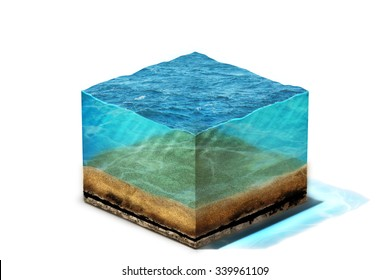 3d Illustration of section of clean ocean water with bottom under water, isolated on white background