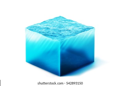 3d Illustration of section of clean ocean water, isolated on white background
