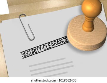 3D illustration of SECURITY CLEARANCE stamp title on business document or contract