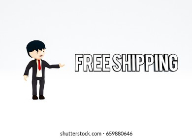 3d illustration of a seller that shows a free shipping sign isolated on white background