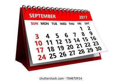 3d illustration of september 2017 calendar isolated over white background