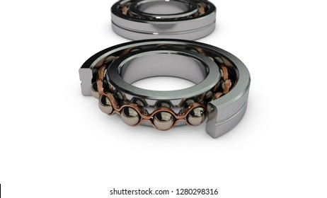 3D illustration of a series of bearings, with depth of field. The first bearing shows the internal structure. 3D rendering isolated on white background.