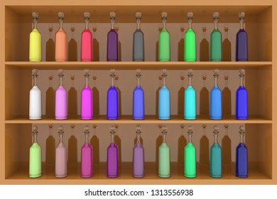 3D illustration. Series of colored bottles with various shades on the shelf.