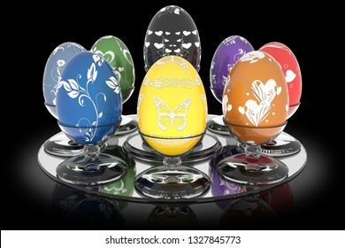 3D illustration. Series decorated Easter egg. Eggs with glass holder on a black background.