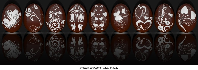 3D illustration. Series of Easter eggs decorated with various decorations.