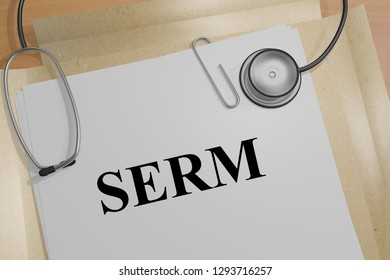 3D illustration of SERM title on a medical document