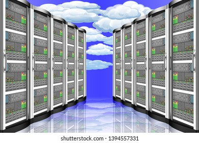 3D illustration. Server computer data. Connection and storing computer data, applications.