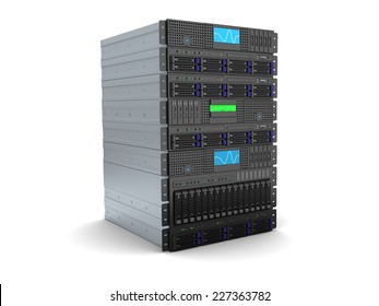 3d illustration of server rack stand over white background