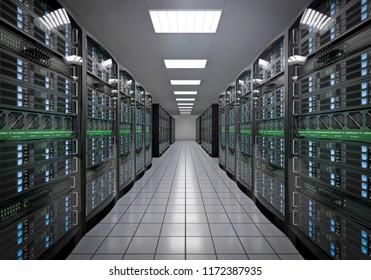 3D illustration server room