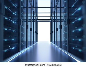 3D illustration of server room in data center full of telecommunication equipment,concept of big data storage and  cloud 