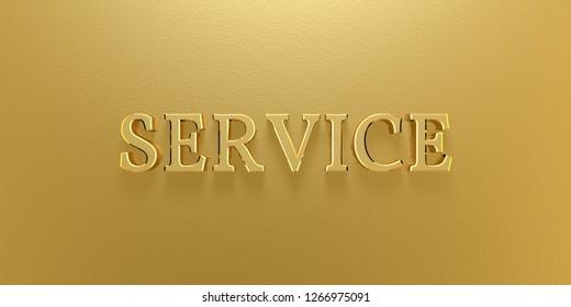 3D Illustration Service Gold Text
