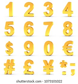 3D illustration set of golden numbers and currency symbols over white background with clipping path for each item for fast and accurate isolation.