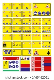 3D illustration. set of mandatory sign, hazard sign, prohibited sign, occupational safety and health signs, warning signboard, fire emergency sign. for sticker, posters, and other material printing.