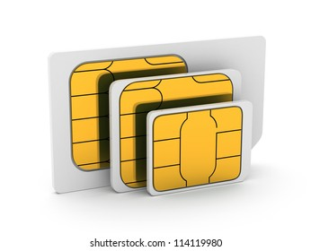 3d illustration of set mini, micro and nano simcard. Isolated on white background