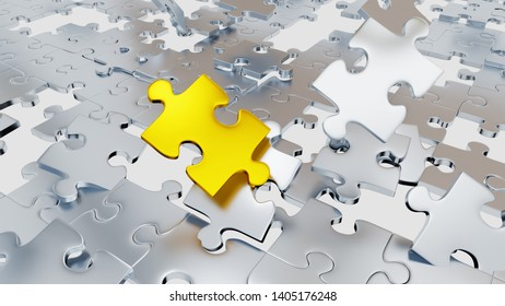 3D illustration of Several Chaotic Grey Puzzle pieces with many holes and one big gold piece with a white background