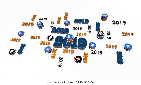 3D illustration of Several Poker 2019 Designs with Many Chips on a White Background