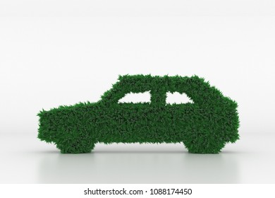 3D Illustration, Shape of a Car with green Grass