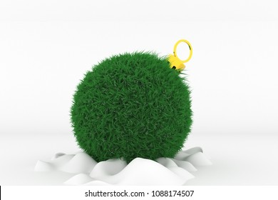 3D Illustration, Shape of a Christmas Ball with green Grass