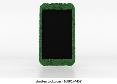 3D Illustration, Shape of a Mobile with green Grass