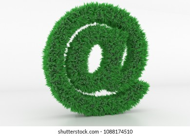 3D Illustration, Shape of a At Sign with green Grass