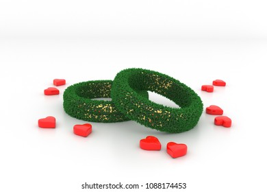 3D Illustration, Shape of Wedding Rings with green Grass