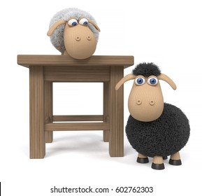 3d illustration sheep playing hide and seek/3d illustration lamb with stool
