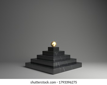 3d illustration. Shelf marble podium for the exhibition of goods. Steps. Gold pearls. Pyramid