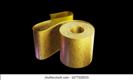 3d illustration of a shiny golden roll of toilet paper, isolated on a black background