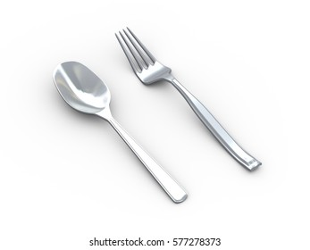 3d illustration of of shiny stainless steel fork and spoon