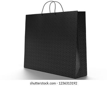 3D illustration of shopping bag isolated on white background. Place for text on the empty side. Clipping path included. Black embossed vinyl.