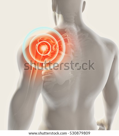 3D illustration, shoulder painful skeleton x-ray, medical concept.