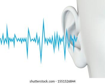 3D illustration showing human ear  with soundwave