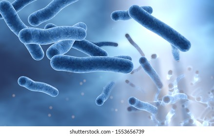 3D illustration showing legionella bacteria in water