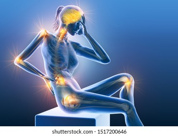 3D illustration showing a woman with painful joints: shoulder, cervical spine, elbow, lumbar spine, hand, wrist and hip