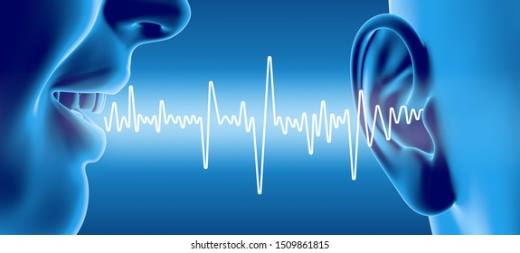 3D illustration shows talking people with soundwave and ear with middle ear, otitis, auditory canal, tympanic membrane, auditory canal and cochlea nerve